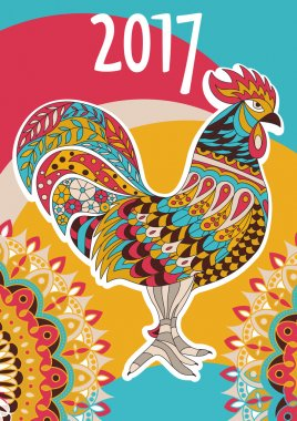 Vector cover calendar 2017. Colorful rooster - the symbol of the Chinese New year.