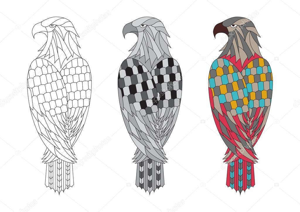 vector para Imprimir página para colorear para adultos con el águila ...