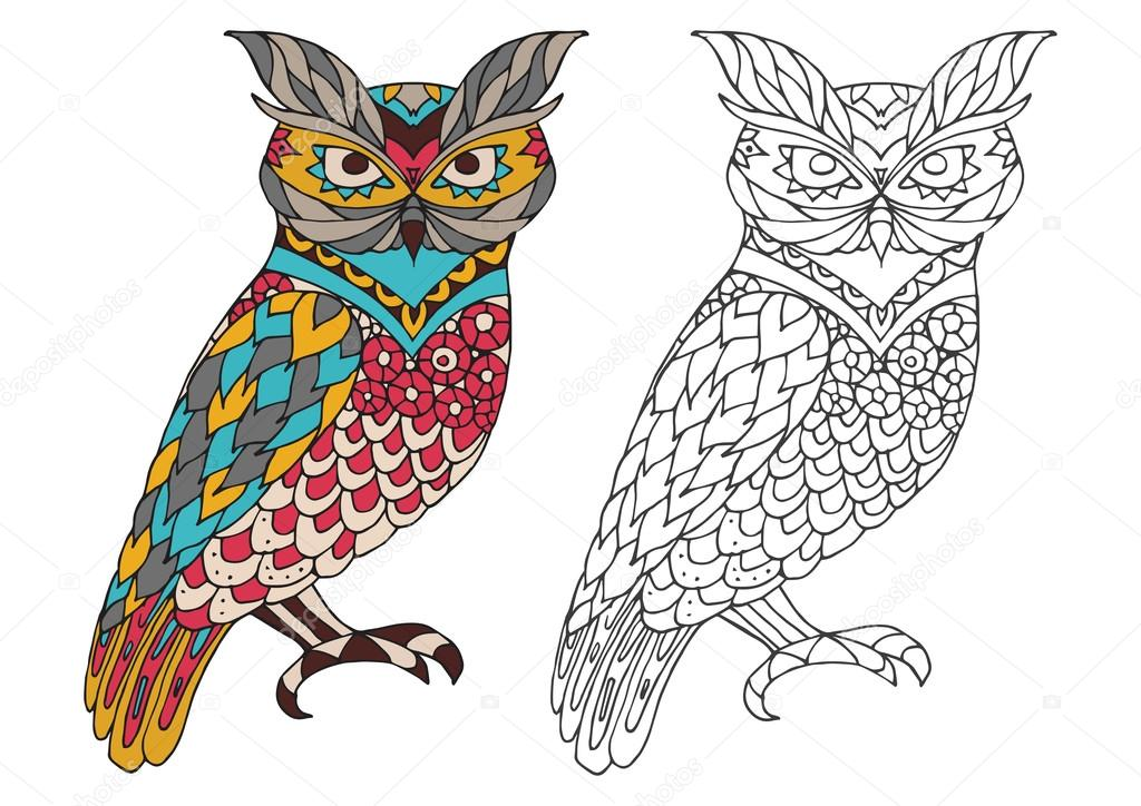 Printable coloring book page for adults - owl design, activity to older children and relax adult. vector   with Islam, Arabic, Indian, ottoman motifs. colorful  outline options