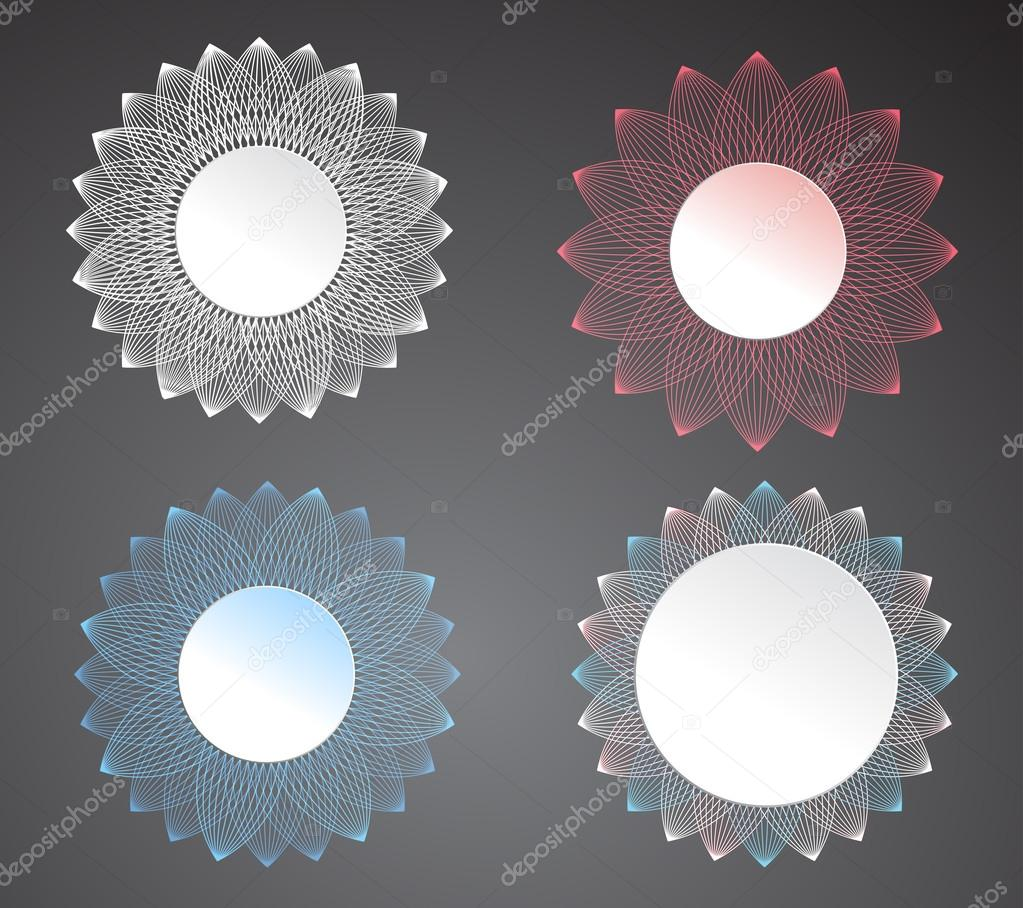 Set of vector lace frames design templates.