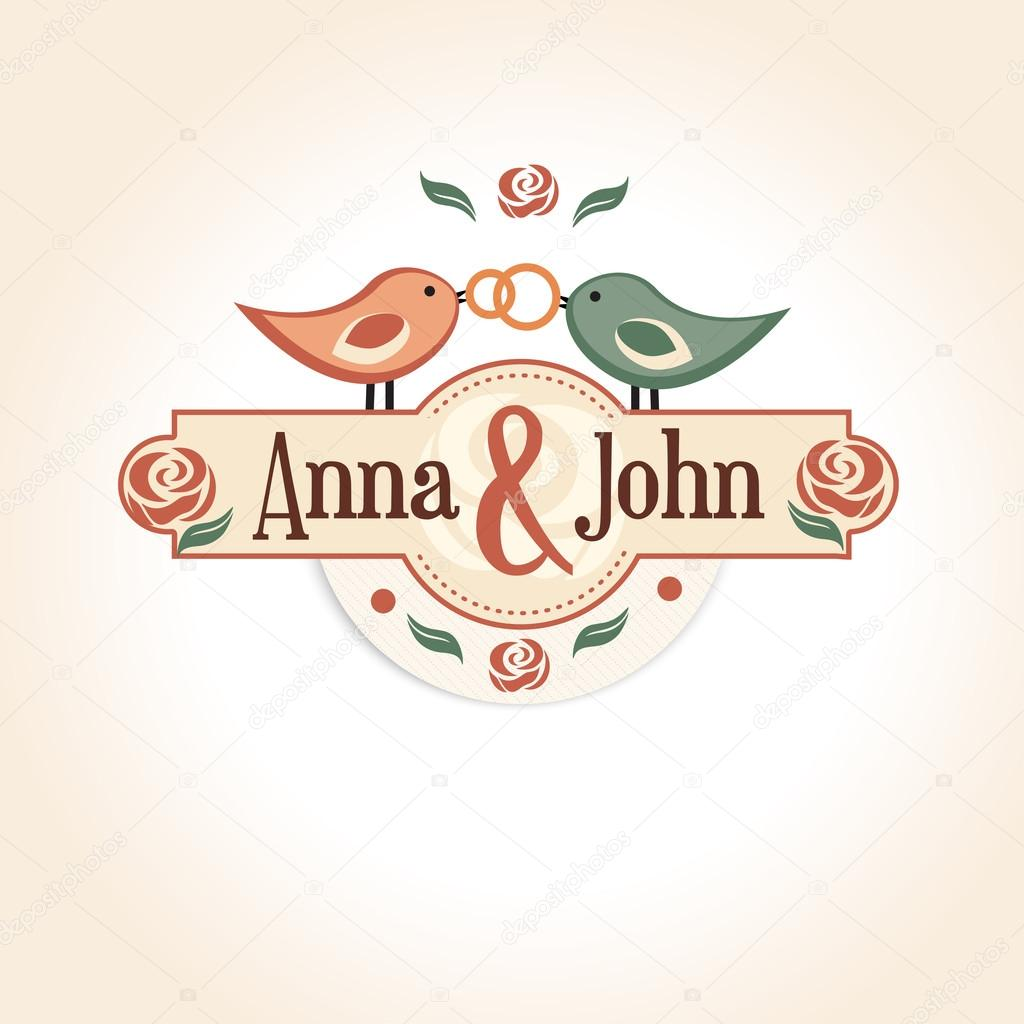 wedding vintage badge in retro design with the names of the bride and groom.
