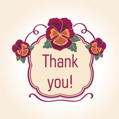 vintage  thank you cards for wedding decoration or birthday. Retro template with text.