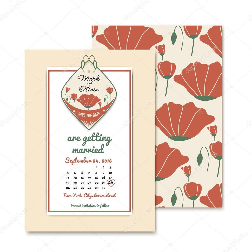 vintage design wedding invitations. For wedding decoration with poppies. Template of the emblem save the date with names of the bride and groom.