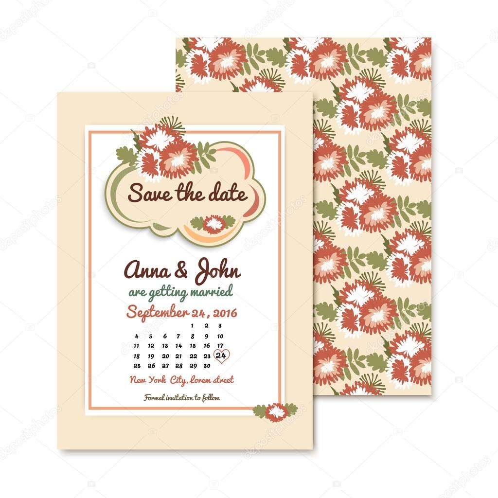 Wedding invitations with autumn floral background. Greeting card in vintage or retro style.