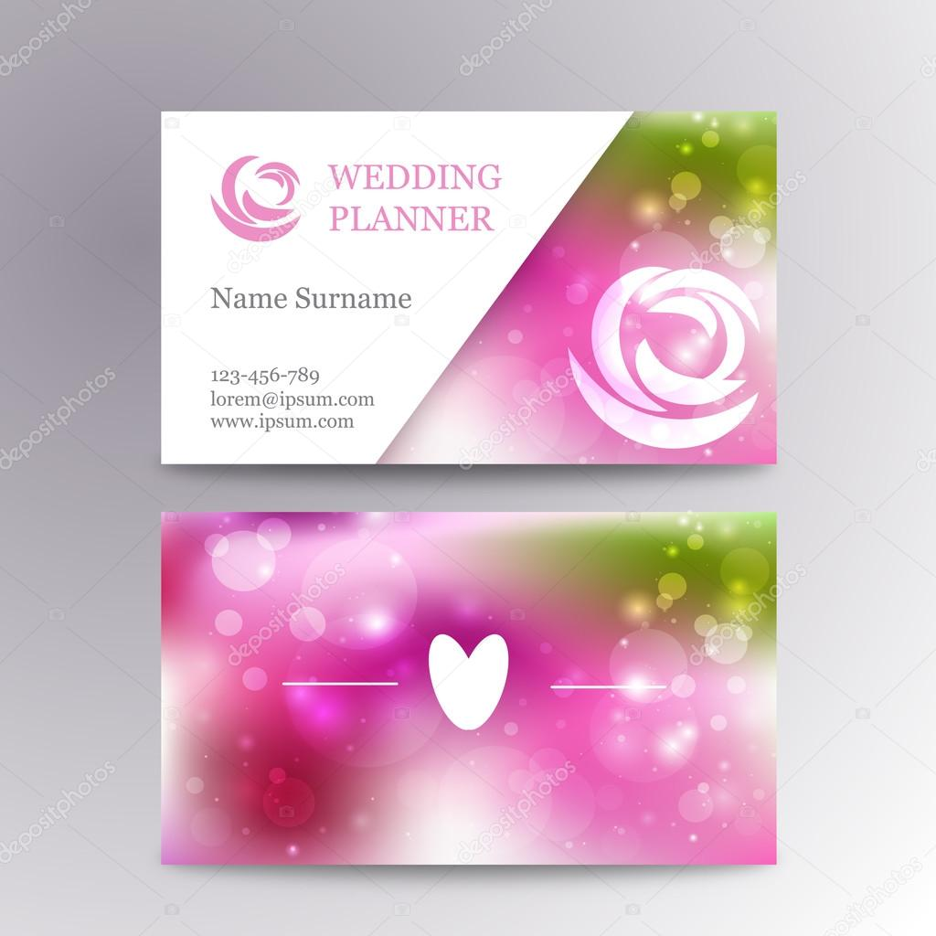 Vector creative feminine business card template mockup with logo flower.