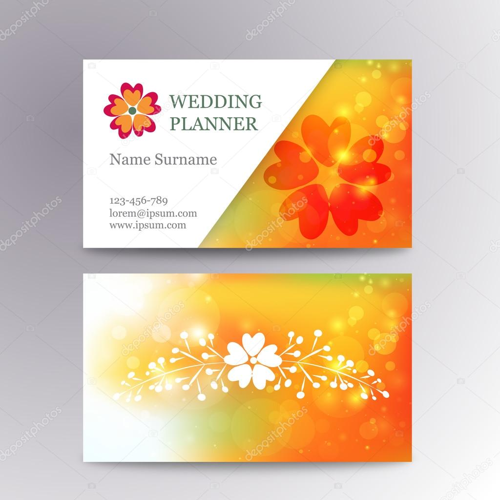 Vector blurred business card template with logo flower suitable for vector blurred business card template with logo flower suitable for wedding planners stock vector wajeb Choice Image