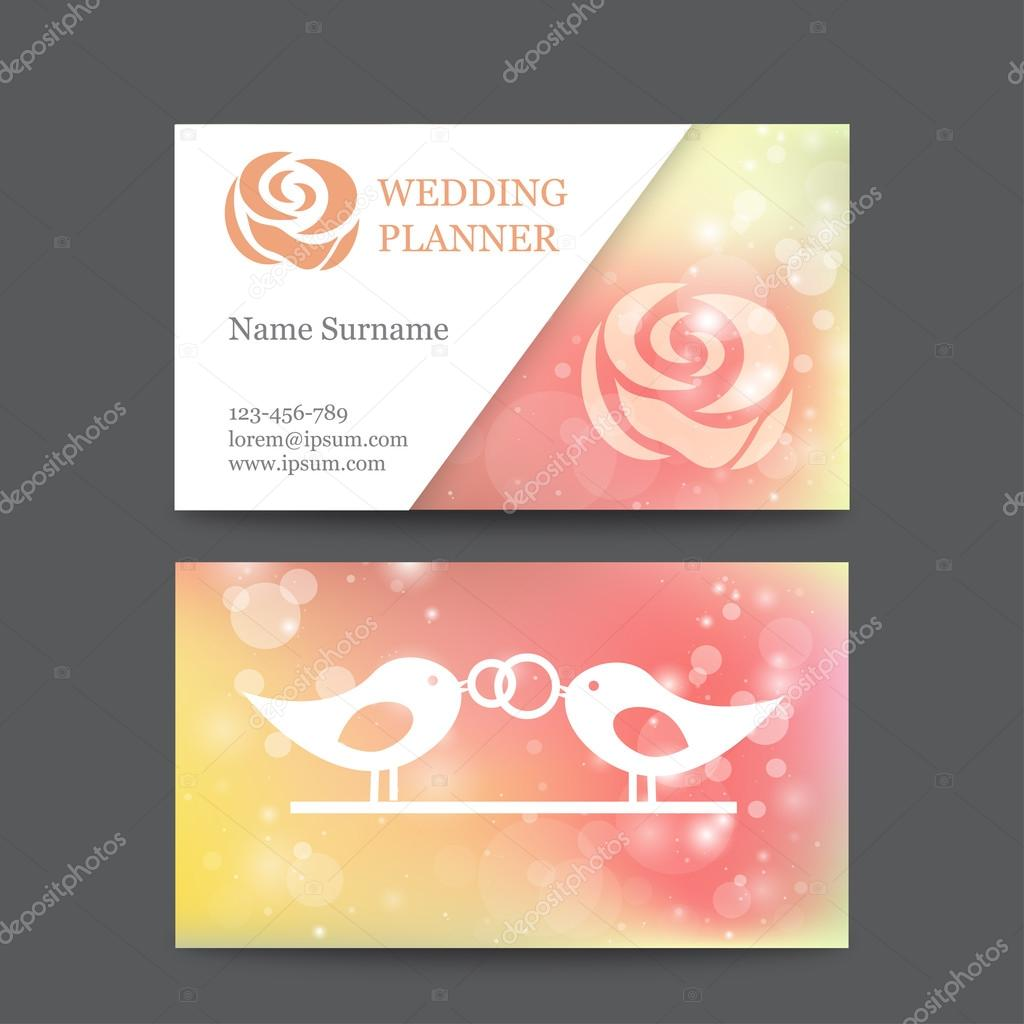 Vector vintage wedding business card template mockup with logo flower. Suitable for wedding planners