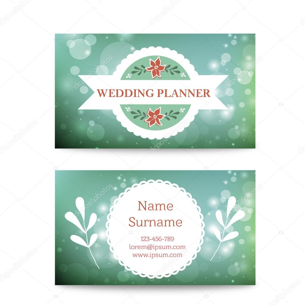 Vector creative mint business card template mock up with logo. Suitable for wedding planners