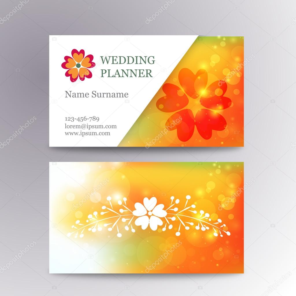 Vector blurred business card template with logo flower. Suitable for wedding planners