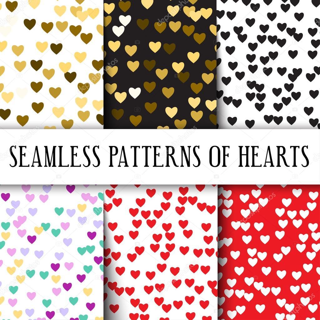 Vektor Set Von Nahtlosen Mustern Mit Herzen Perfekt Für