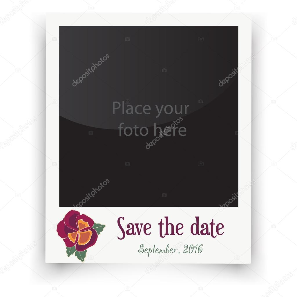 Marco de boda vintage con flores. Plantilla para foto de la novia y ...