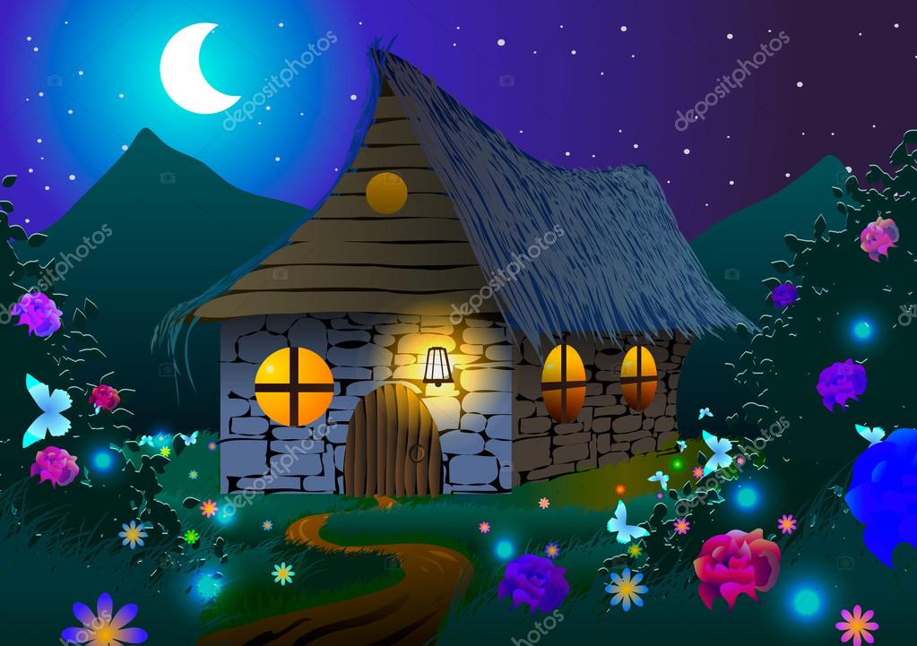 Fairy-tale house on a meadow with flowers and butterflies at night.