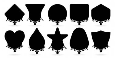 Label drops basic shape models with ten variation isolated background, droplets of oil, honey, ink, paint, water, lubricant, blood drop realistic vector set, set of black and white icons of shape. icon