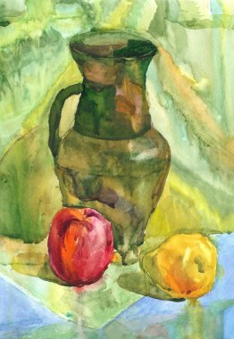 Still Life with apple, Jug and pear, Watercolor painting
