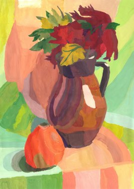 Still Life with apple and Jug, Watercolor painting