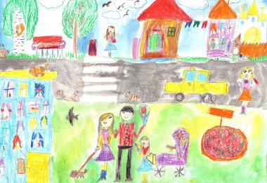 Child's drawing happy family, road, car