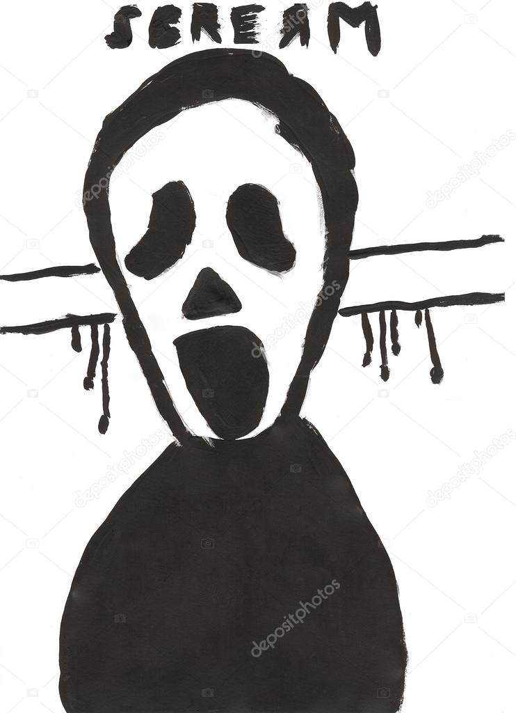 Imágenes: scream para dibujar | Niño Halloween dibujo - scream ...