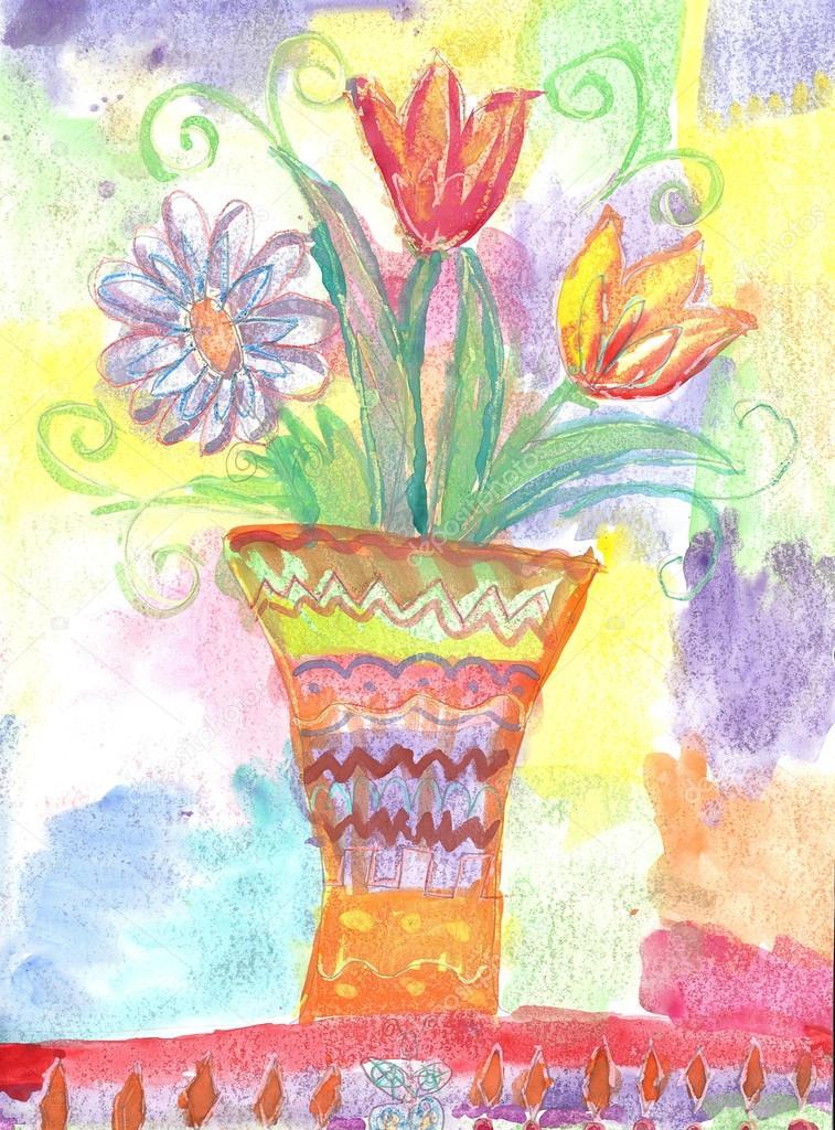Рисунки букетов цветов для детей, магазин цветов оазис костанай