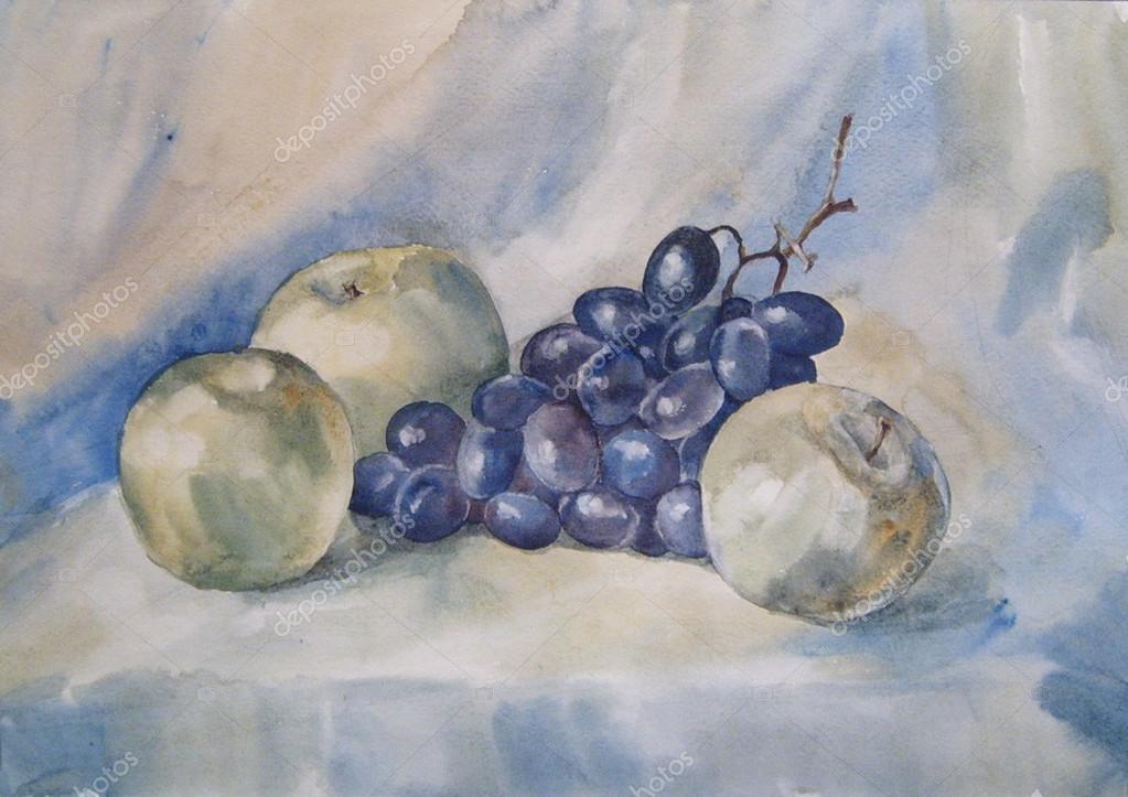 этого мужчина картинка натюрморт пошагово яблоко виноград вороны