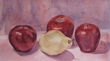 Still Life with apple and pear, Watercolor painting