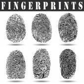 Vektor schwarz isoliert Fingerabdruck auf weißem Hintergrund
