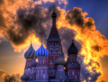 St. Basil's Cathedral on the background of the fiery glow