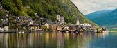 Krásná horská krajina s Hallstatt vesnici. Tirol, Aust