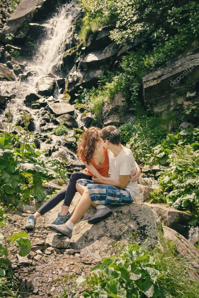 Happy couple enjoying beautiful nature