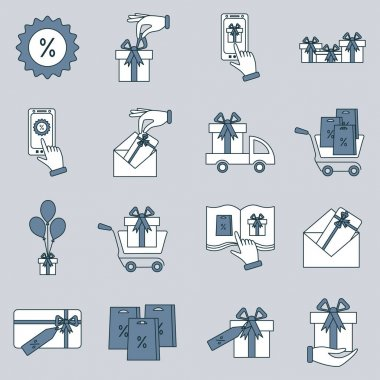 Set of gifts vector line icons. Vector illustration. Vector symbol icon