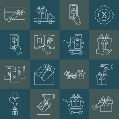 Set of gifts vector line icons on dark background. Vector line icon. Pictogram. Concept of mobile ordering icon