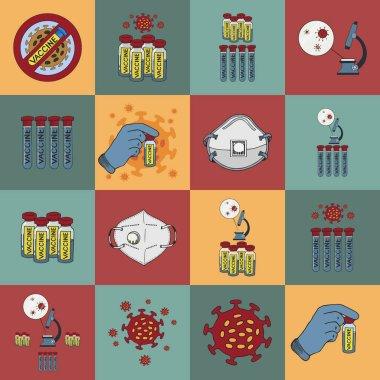 Coronavirus vector  icons set  in doodle style,  vaccine development. Stop the coronavirus. Covid19 disease vaccination concept. Computer network signs set. Vector illustrations. icon