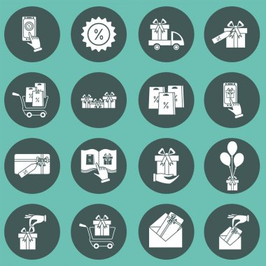 Set of gifts vector line  icons. Vector illustration. Isolated Vector line icon. Pictogram. Concept of mobile ordering icon
