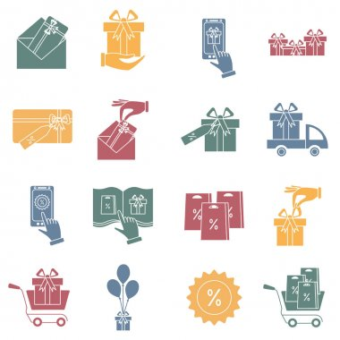 Set of gifts vector  icons isolated on white. Vector illustration. Vector symbol.  Color Pictogram. Concept of mobile ordering icon