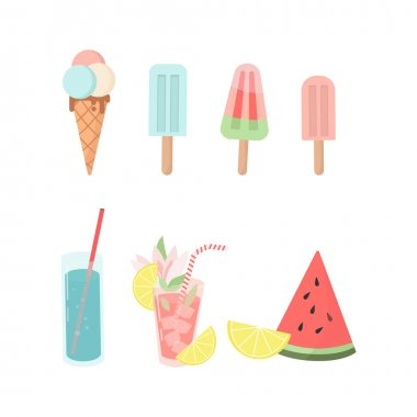 Set of colorful ice creams, cocktails and fruits.  Trendy vector flat icons, isolated on white. Design for web and print. Tourism, vacation and travel concept icon