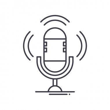 Podcast icon, thin line isolated illustration, linear vector web design sign, outline concept symbol with editable stroke on white background. icon