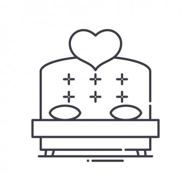Marriage bed icon, thin line isolated illustration, linear vector web design sign, outline concept symbol with editable stroke on white background. icon