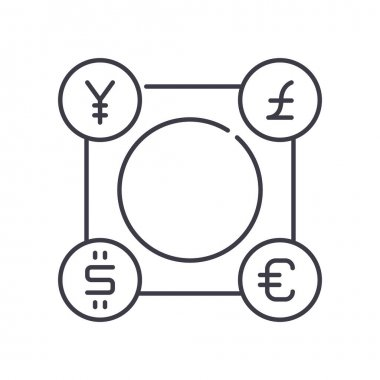 Foreign currency icon, thin line isolated illustration, linear vector web design sign, outline concept symbol with editable stroke on white background. icon