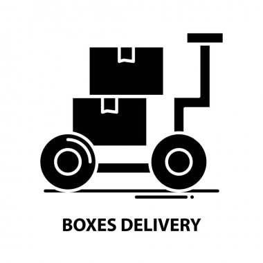 Boxes delivery icon, black vector sign with editable strokes, concept symbol illustration icon