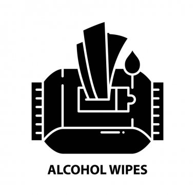 Alcohol wipes icon, black vector sign with editable strokes, concept symbol illustration icon