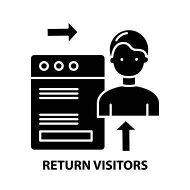 return visitors icon, black vector sign with editable strokes, concept illustration