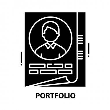 Portfolio icon, black vector sign with editable strokes, concept symbol illustration icon