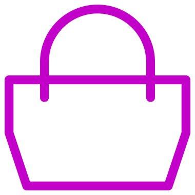 Pink color shopping bag vector icon icon