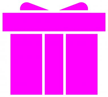 Gift box icon on pink background icon