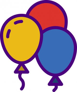 Vector illustration of a group of colorful balloons icon