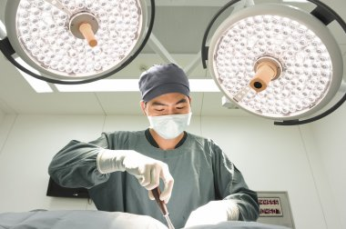 veterinarian surgery in operation room