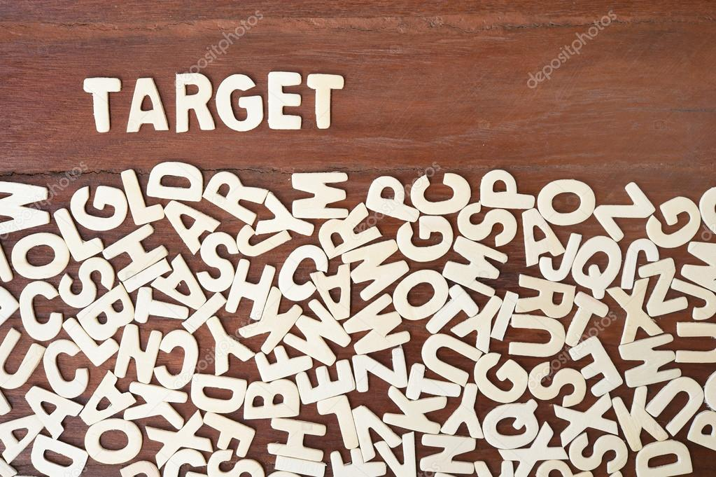 word target made with block wooden letters stock photo