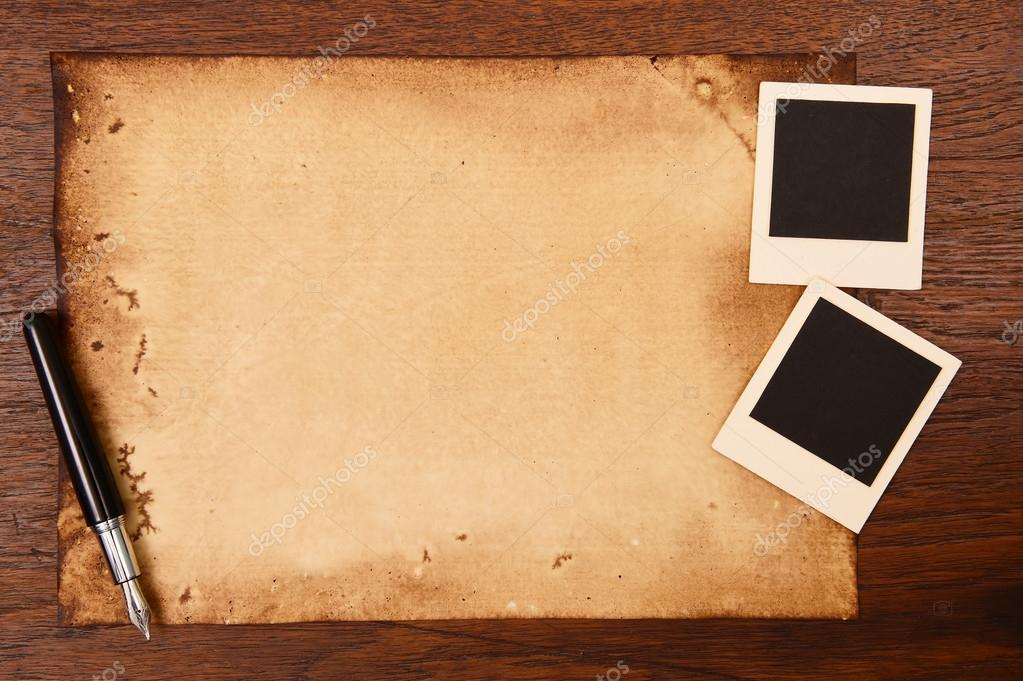 Old paper and ink pen with vintage photo frame — Stock Photo ...
