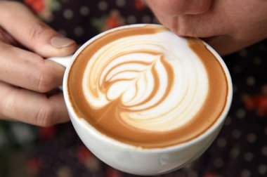 A cup of latte art coffee