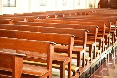Chair prayer in the church, Interior Inside a Catholic Church