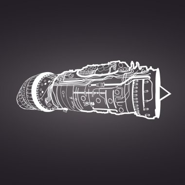 jet engine drawing on black background